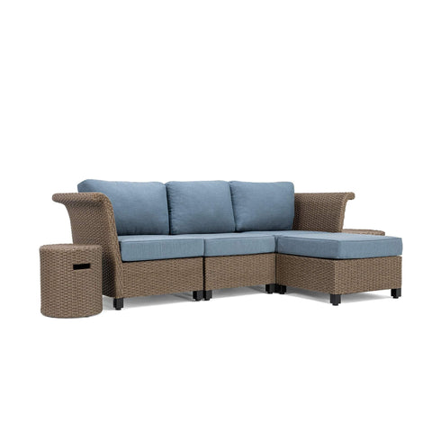 Nolin 3pc Sectional Plus 2 Side Tables and 1 Ottoman (1 Armed Corner Left, 1 Armless Center, 1 Armed Corner Right, 2 Side Tables, 1 Ottoman)