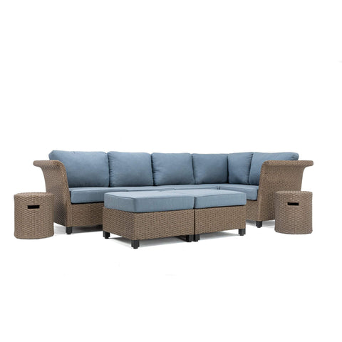 Nolin 5pc Sectional Plus 2 Side Tables and 2 Ottomans (1 Armed Corner Left, 2 Armless Centers,1 Cushioned Corner, 1 Armed Corner Right)