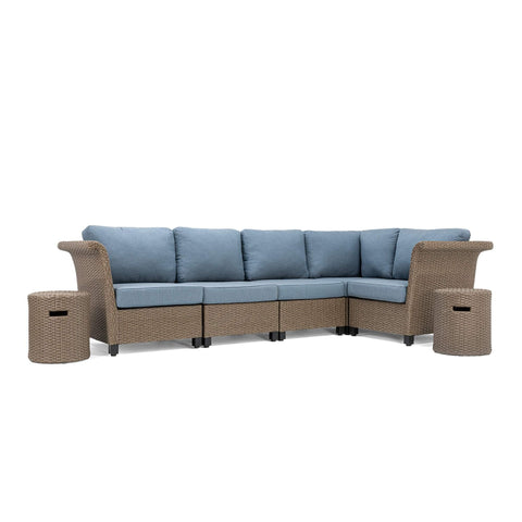 Nolin 5pc Sectional Plus 2 Side Tables (1 Armed Corner Left, 2 Armless Centers,1 Cushioned Corner, 1 Armed Corner Right, 2 Side Tables)