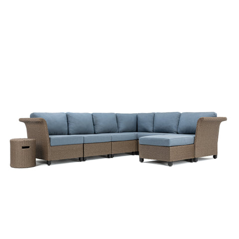Nolin 6pc Sectional Plus 1 Side Table and 1 Ottoman (1 Armed Corner Left, 3 Armless Centers,1 Cushioned Corner, 1 Armed Corner Right)