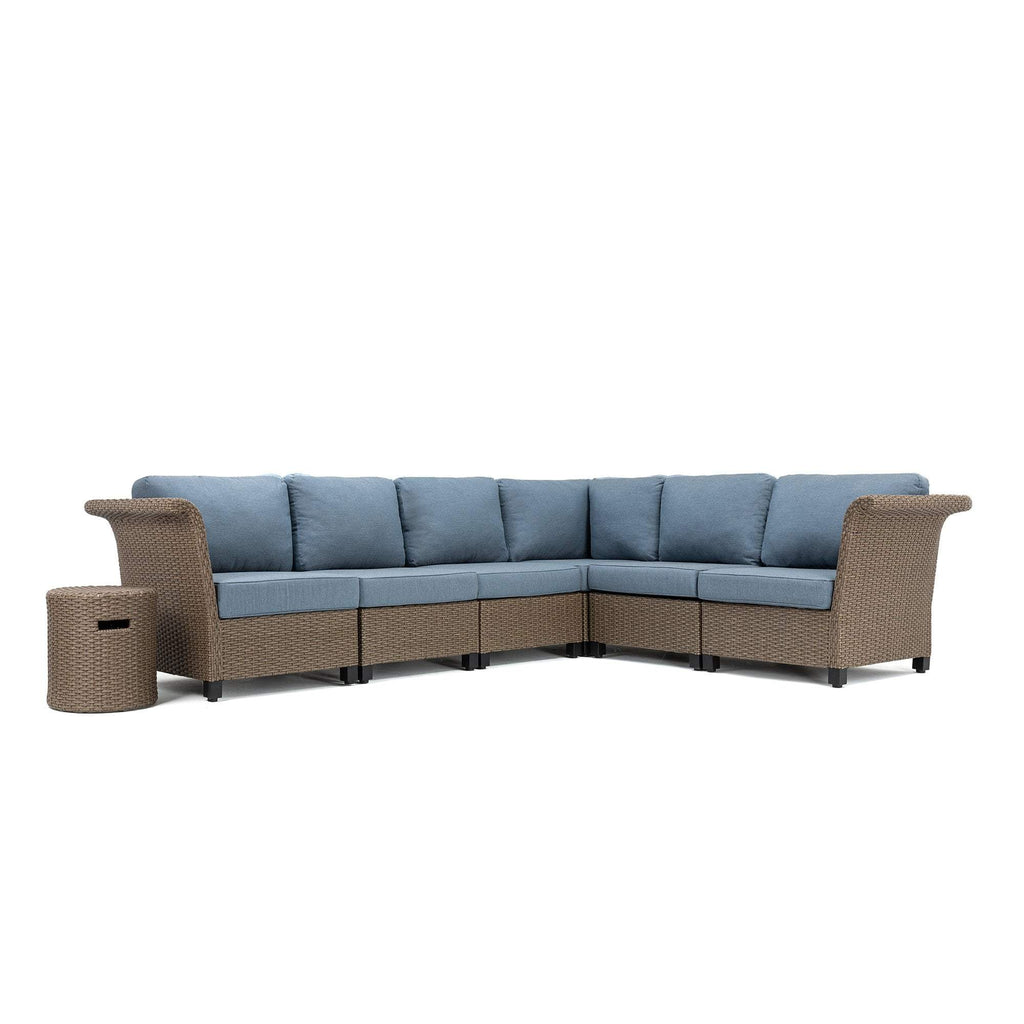 Nolin 6pc Sectional Plus 1 Side Table (1 Armed Corner Left, 3 Armless Centers,1 Cushioned Corner, 1 Armed Corner Right, 1 Side Table)