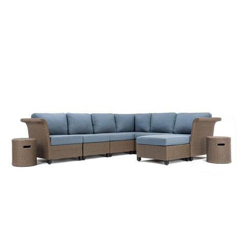 Nolin 6pc Sectional Plus 2 Side Tables and 1 Ottoman (1 Armed Corner Left, 3 Armless Centers,1 Cushioned Corner, 1 Armed Corner Right, 2 Side Tables, 1 Ottoman)