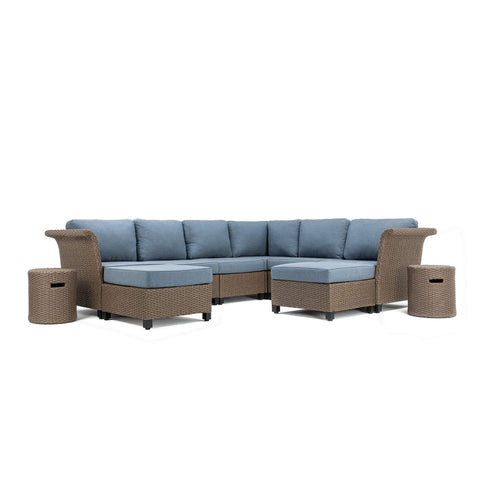 Nolin 6pc Sectional Plus 2 Side Tables and 2 Ottomans (1 Armed Corner Left, 3 Armless Centers,1 Cushioned Corner, 1 Armed Corner Right, 2 Side Tables, 2 Ottomans)