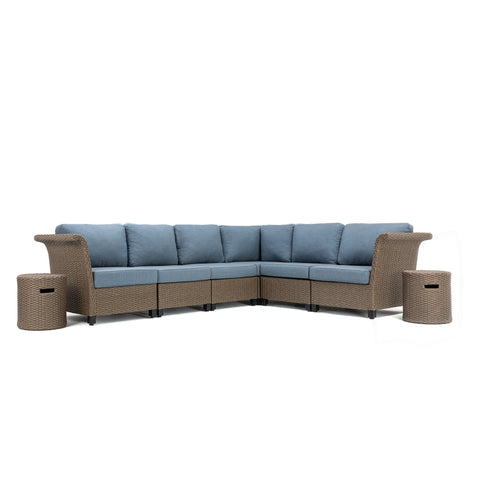 Nolin 6pc Sectional Plus 2 Side Tables (1 Armed Corner Left, 3 Armless Centers,1 Cushioned Corner, 1 Armed Corner Right, 2 Side Tables)