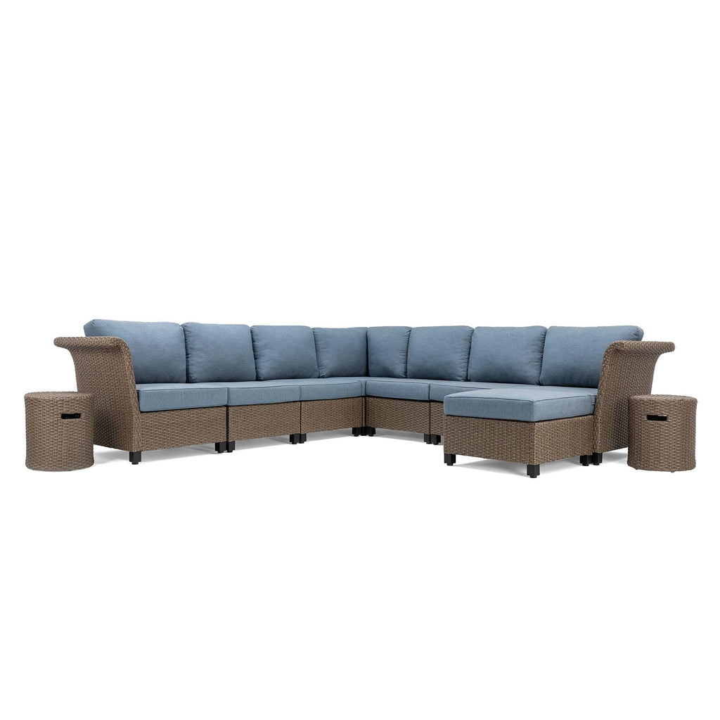 Nolin 7pc Sectional Plus 2 Side Tables and 1 Ottoman (1 Armed Corner Left, 4 Armless Centers,1 Cushioned Corner, 1 Armed Corner Right)