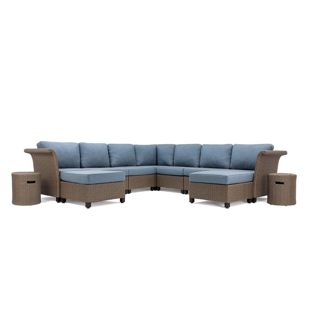 Nolin 7pc Sectional Plus 2 Side Tables and 2 Ottomans (1 Armed Corner Left, 4 Armless Centers,1 Cushioned Corner, 1 Armed Corner Right)