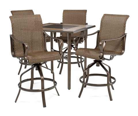 Rochester Woven 5pc Bar Height High-Dining Patio Set
