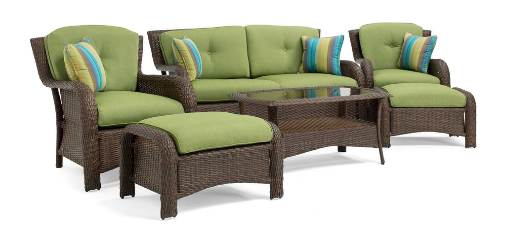 Sawyer 6 Piece Resin Wicker Patio Furniture Conversation Set (Cilantro Green)