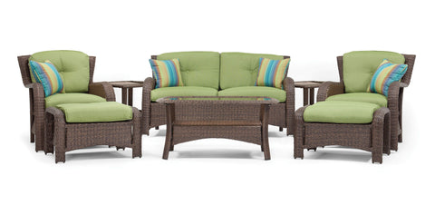 Sawyer 8 Piece Resin Wicker Patio Furniture Conversation Set (Cilantro Green)
