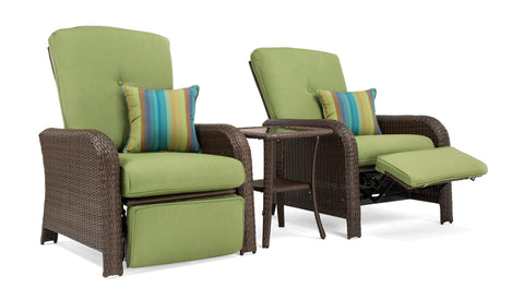 Beau Sawyer Patio Recliner Set: Includes 2 Recliners And Side Table (Cilantro  Green)