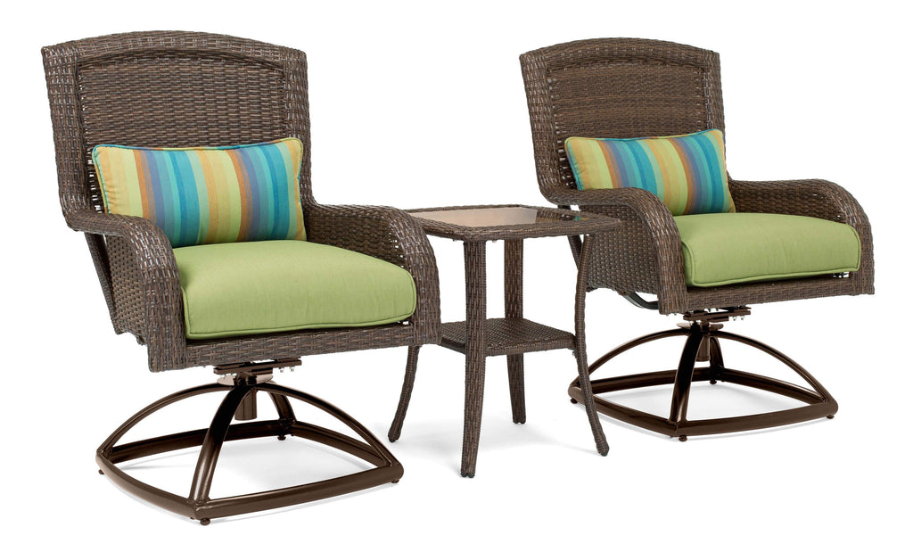 Sawyer Patio Swivel Rocker Set: Includes 2 Swivel Rockers and Side Table (Cilantro Green)