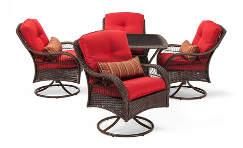 Dining - Bristol Patio Dining Set (Scarlet Red, 5 Piece)