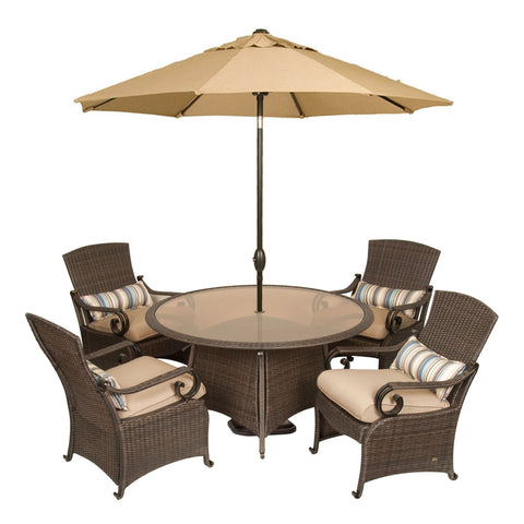 Dining - Lake Como Patio Dining Set With Umbrella And Base (Khaki Tan, 7 Piece)