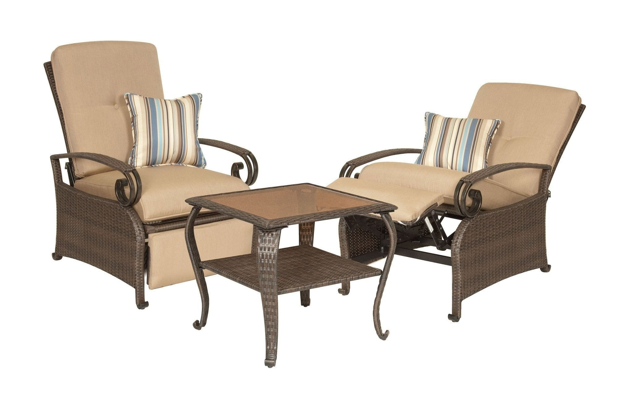 Recliner   Lake Como Combo: Two Patio Recliners And Side Table (Khaki Tan)
