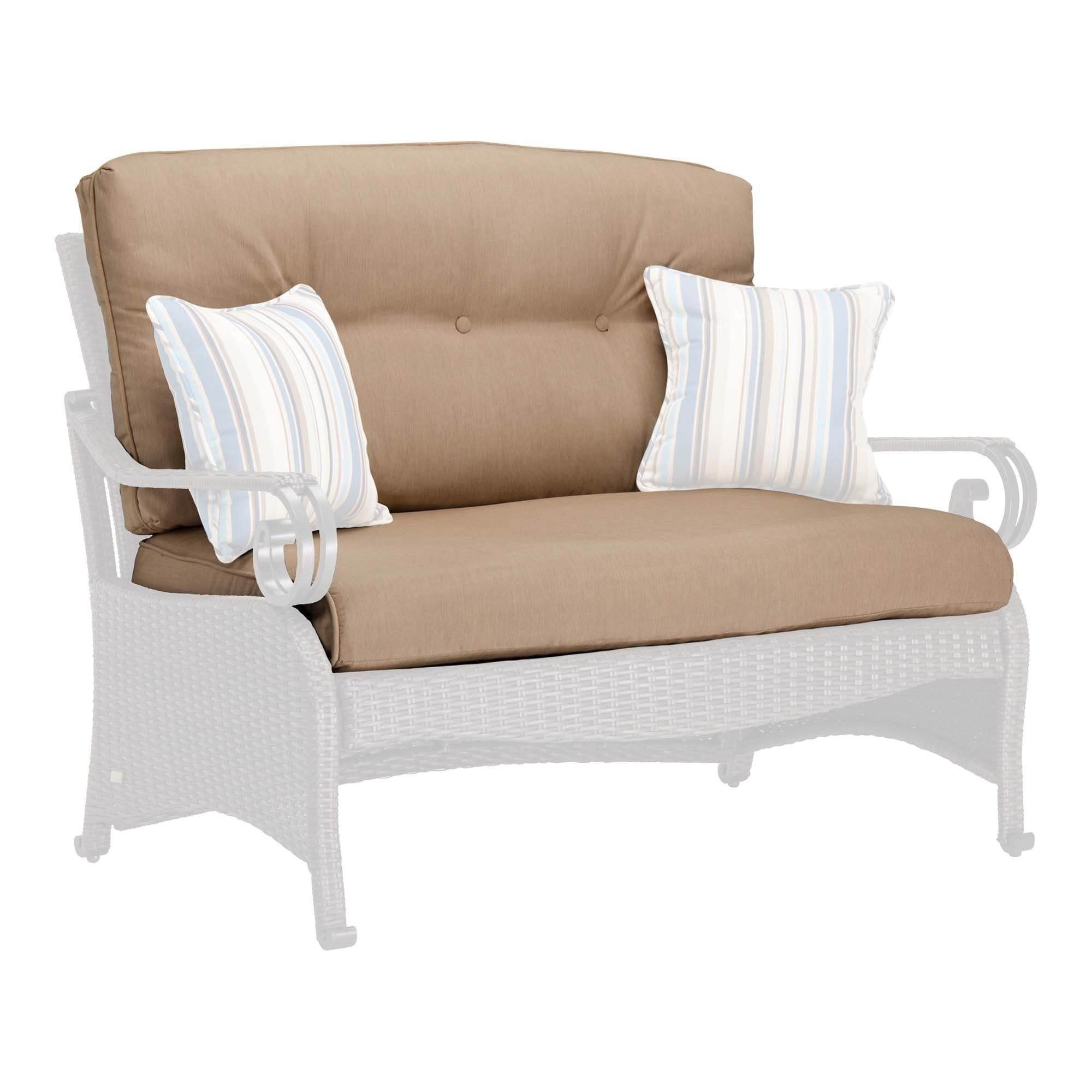 Patio loveseat wicker espresso finish patio loveseat with cushion and pillows garden furniture Patio loveseat cushion