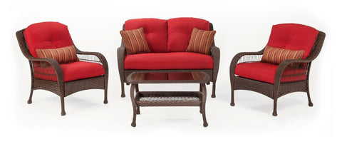 Seating   Bristol Patio Seating Set (Scarlet Red, 4 Piece)