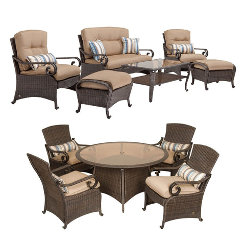Seating - Lake Como Combo: 6 Piece Deep Seating And 5 Piece Dining Set (Khaki Tan)