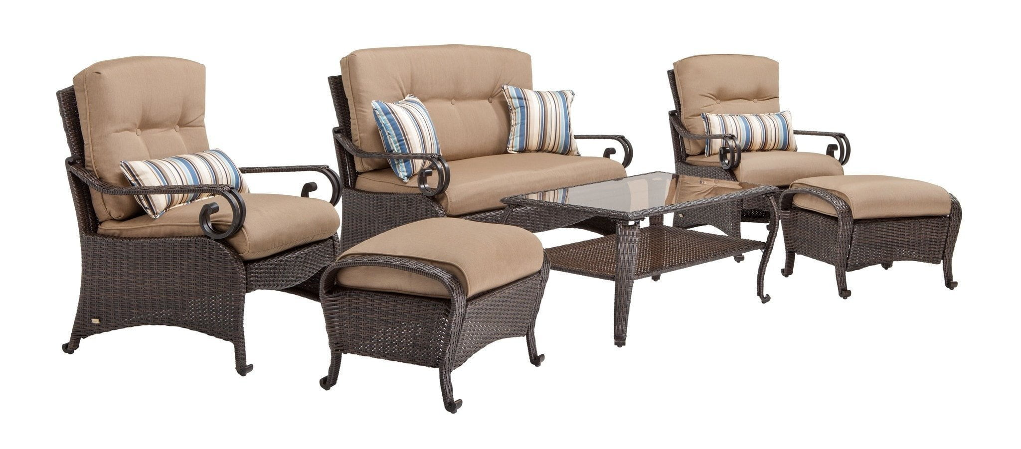 Lake como deep seating wicker patio furniture set khaki for Deep seating outdoor furniture