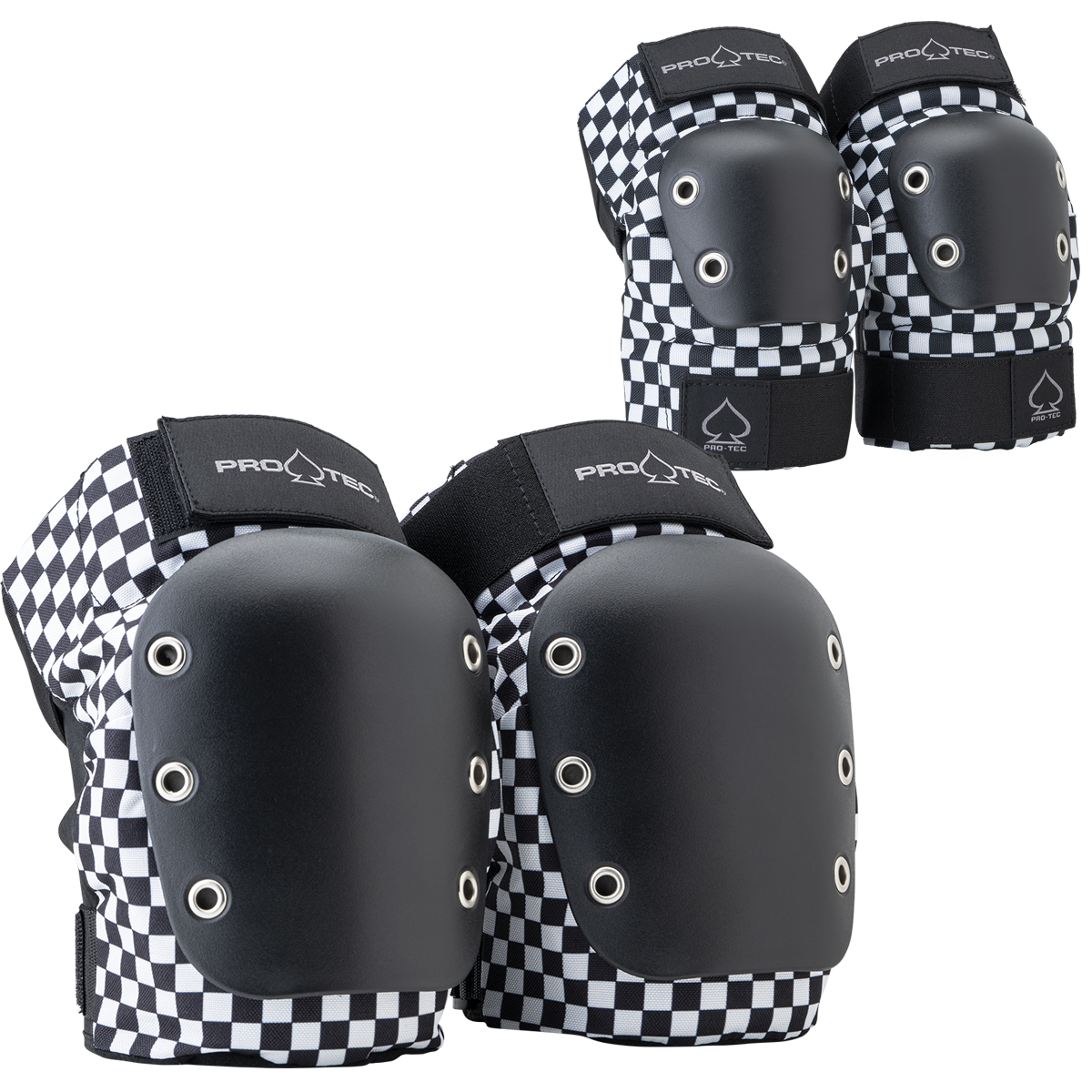 STREET KNEE/ELBOW PAD SET - OPEN BACK - CHECKER