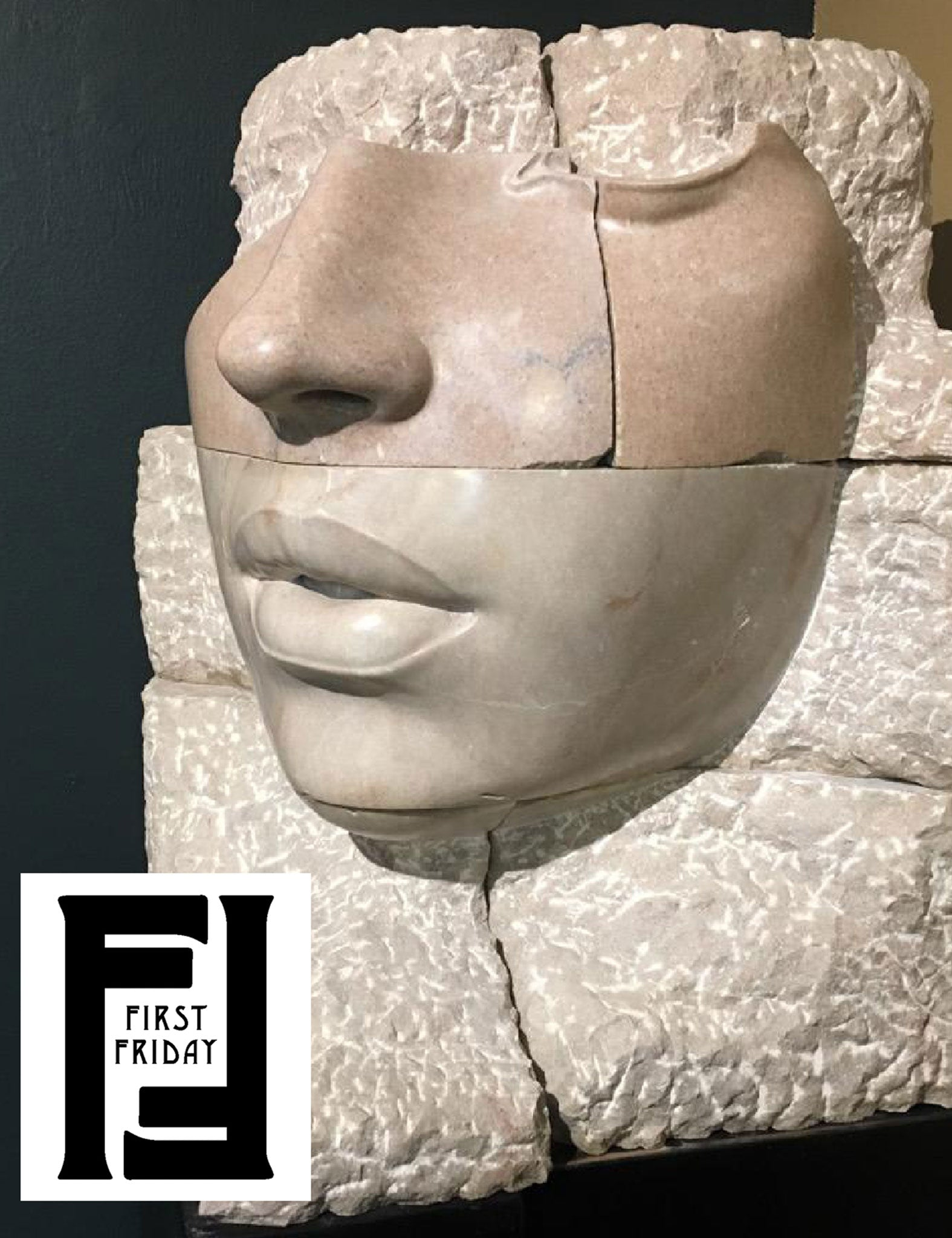over-sized marble fragmented face sculpture Cornerstone by Philippe Faraut