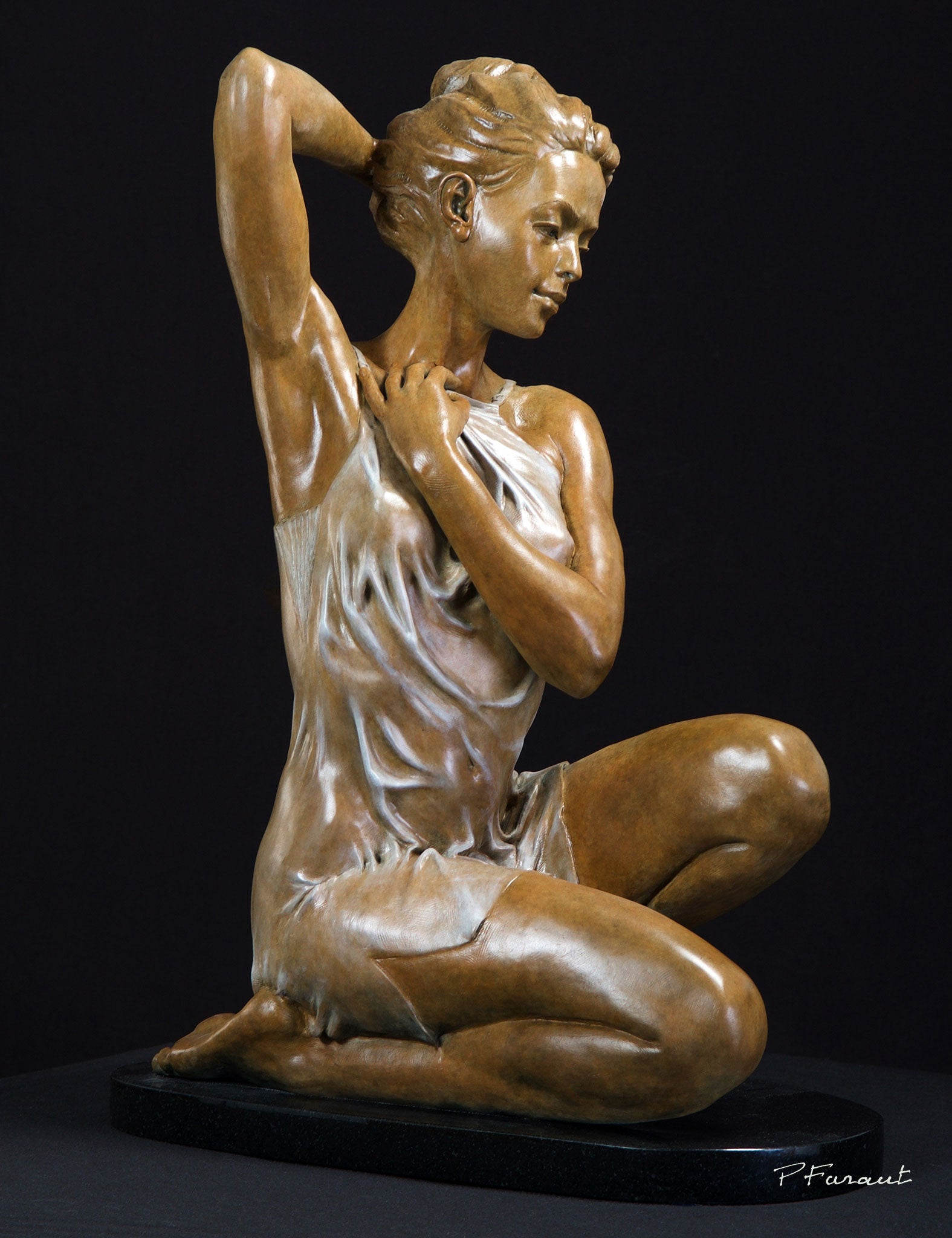 bronze sculpture of seated woman in sheer nightgown Maybe Tomorrow by Philippe Faraut