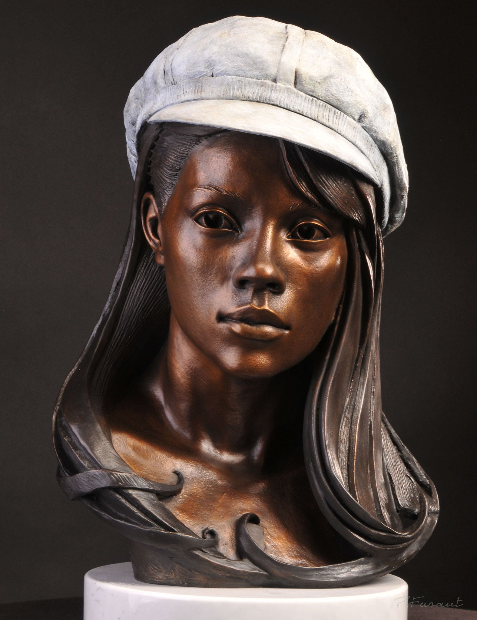 Bronze bust of asian woman with beret and abstract hair by Philippe Faraut