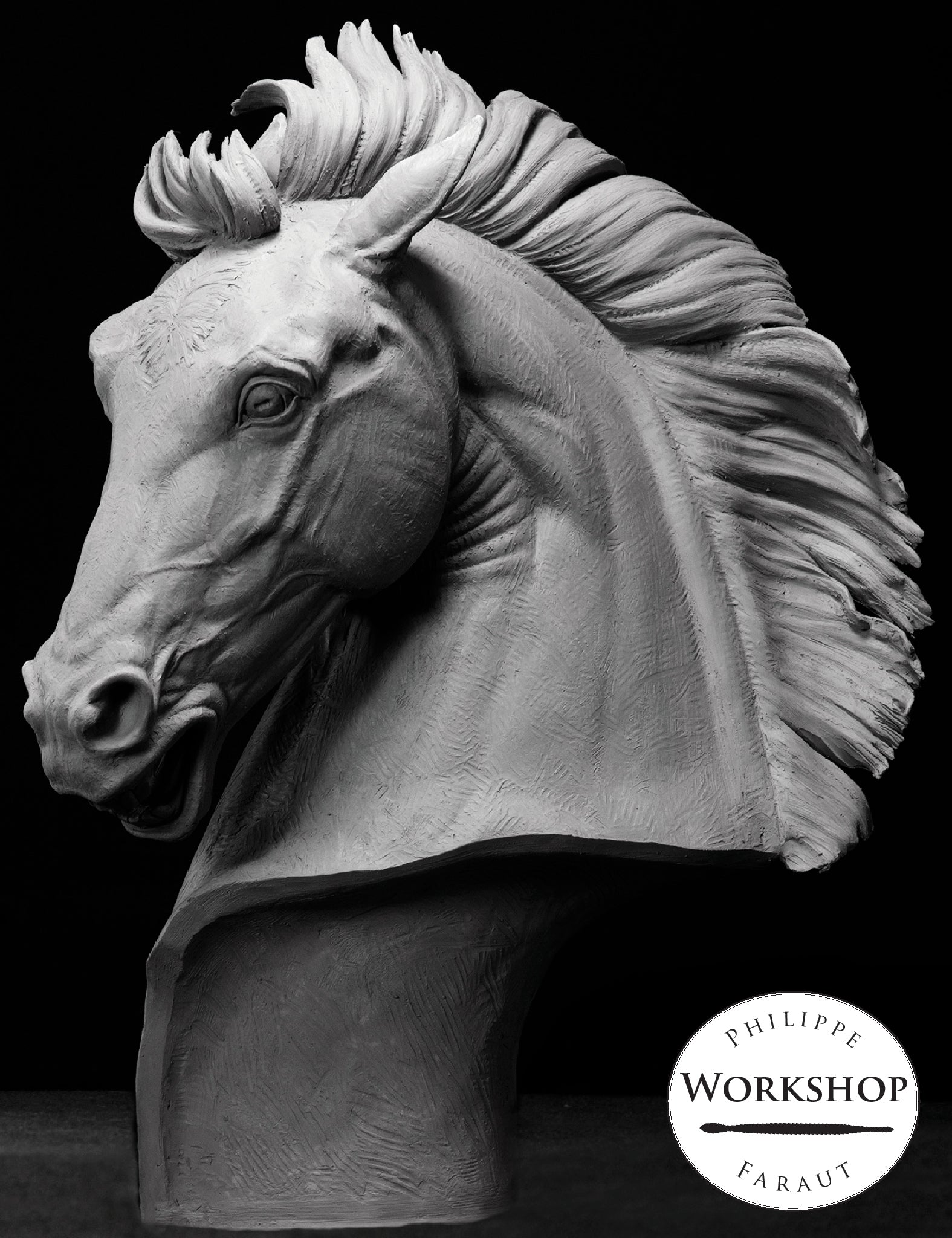 open-mouthed stallion bust in clay by Philippe Faraut for sculpting workshop in New York