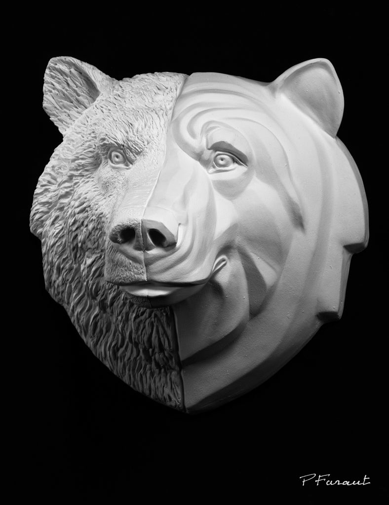 bear drawing cast, bear sculpture cast, bear mask, art reference cast, bear plaster cast for artist, bear anatomy, 3d model, 3d animal reference