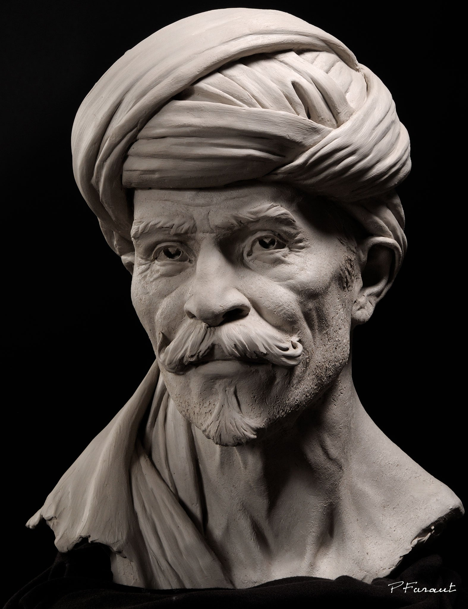 clay portrait of arabian man with turban Bedouin by Philippe Faraut