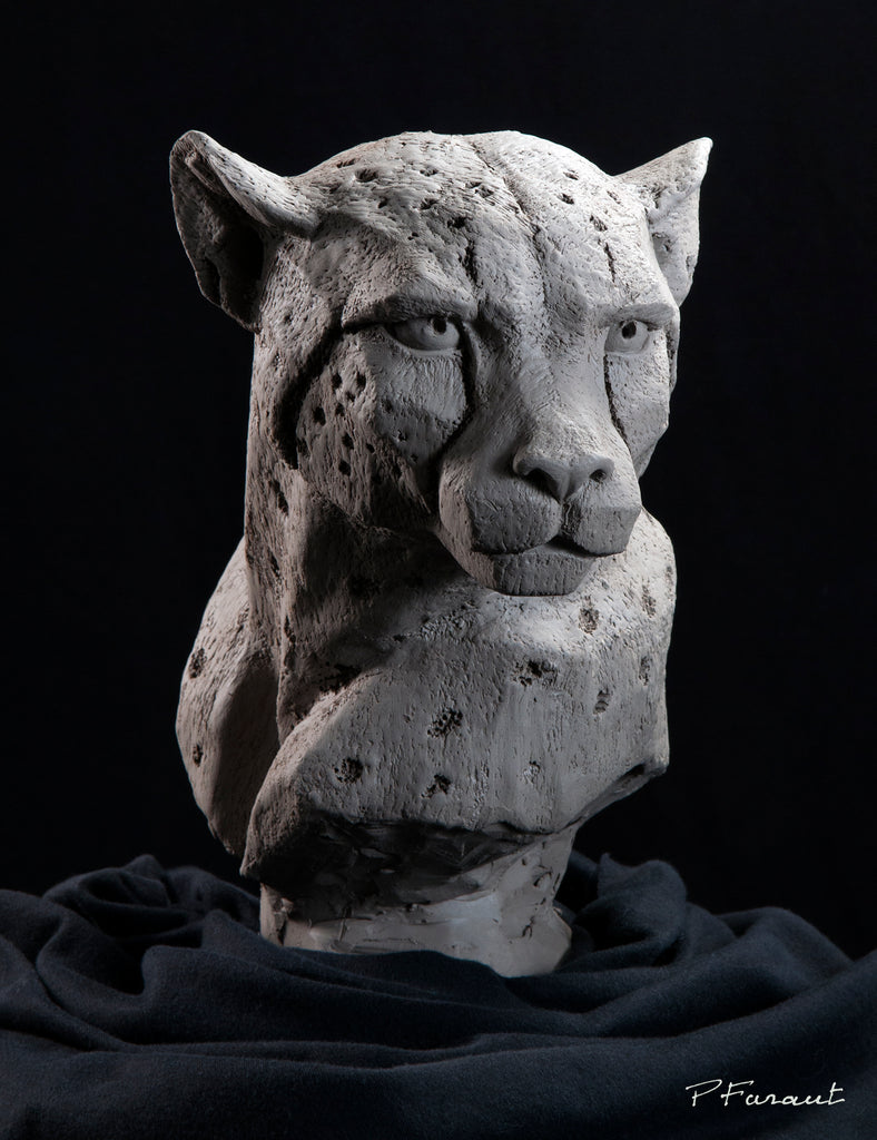 Sculpted Cheetah bust by Philippe Faraut in earthenware clay, cat sculptures