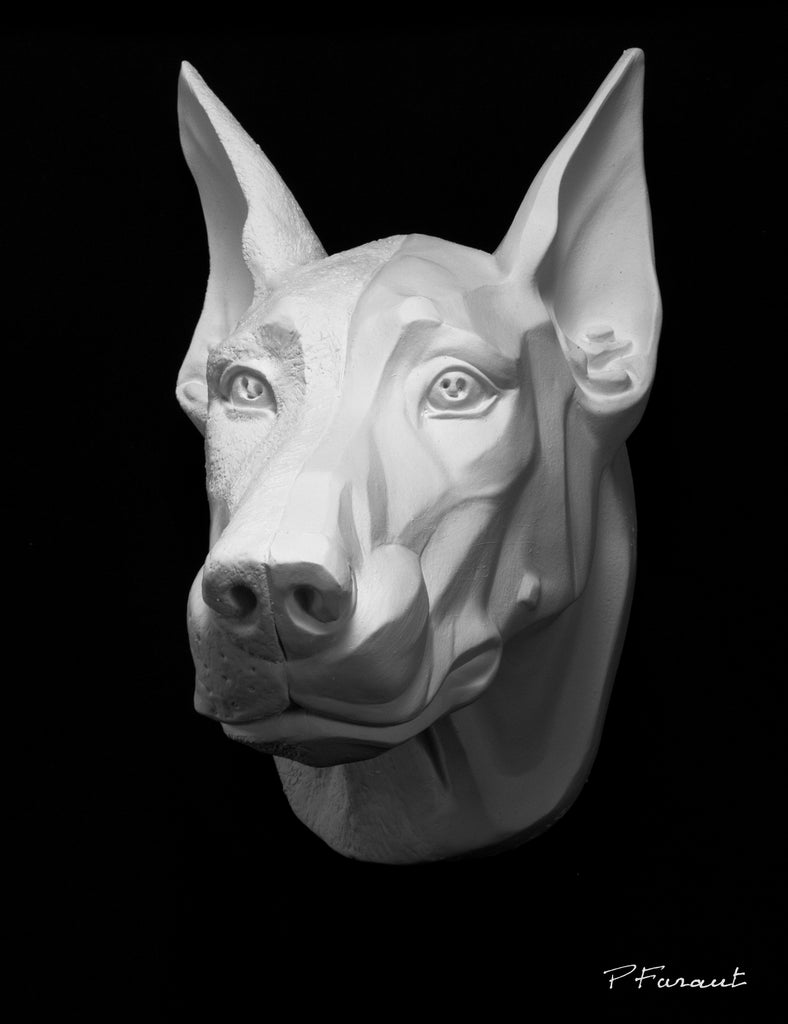 doberman sculpture, dog drawing cast, dog sculpture cast, doberman mask, art reference cast, doberman dog plaster cast for artist, dog anatomy, 3d animal reference