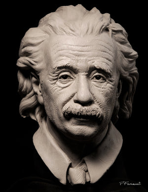 Albert Einstein clay portrait bust by Philippe Faraut