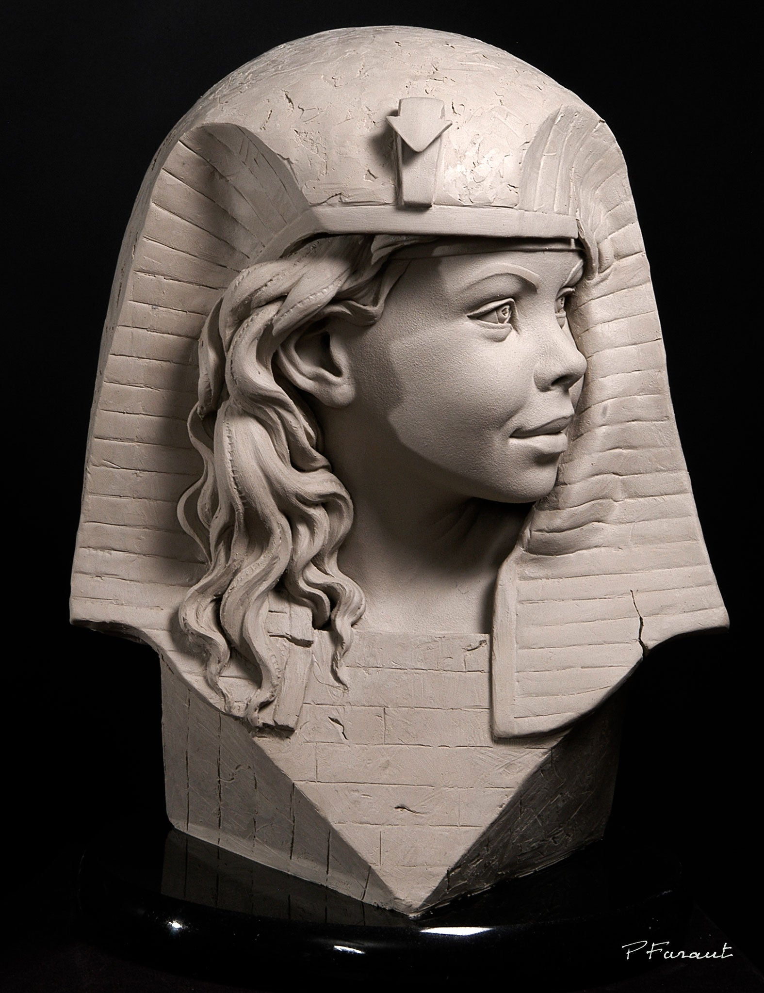 Abstract portrait bust of child with egyptian headdress by Philippe Faraut