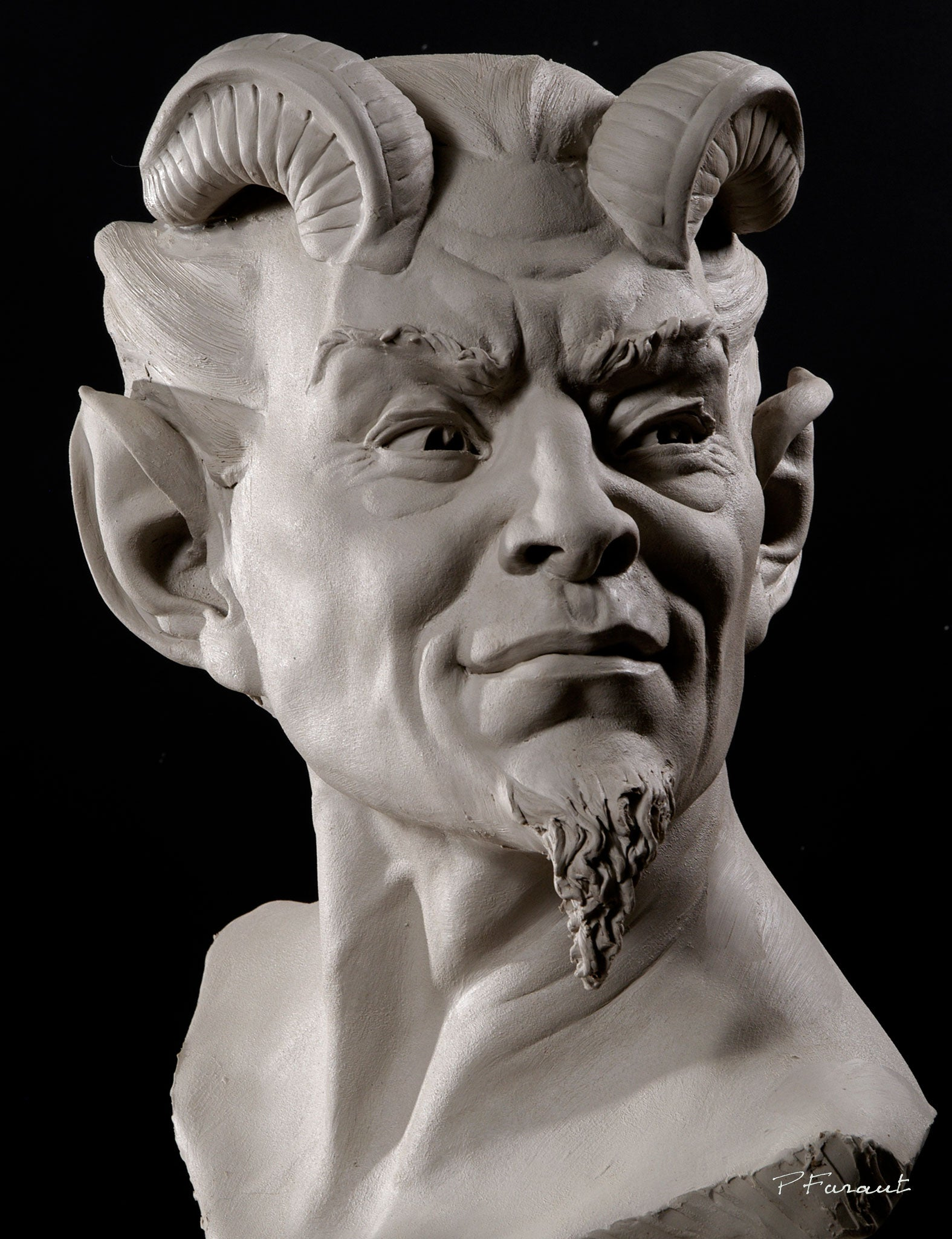 Mephistopheles demon clay portrait sculpture by Philippe Faraut