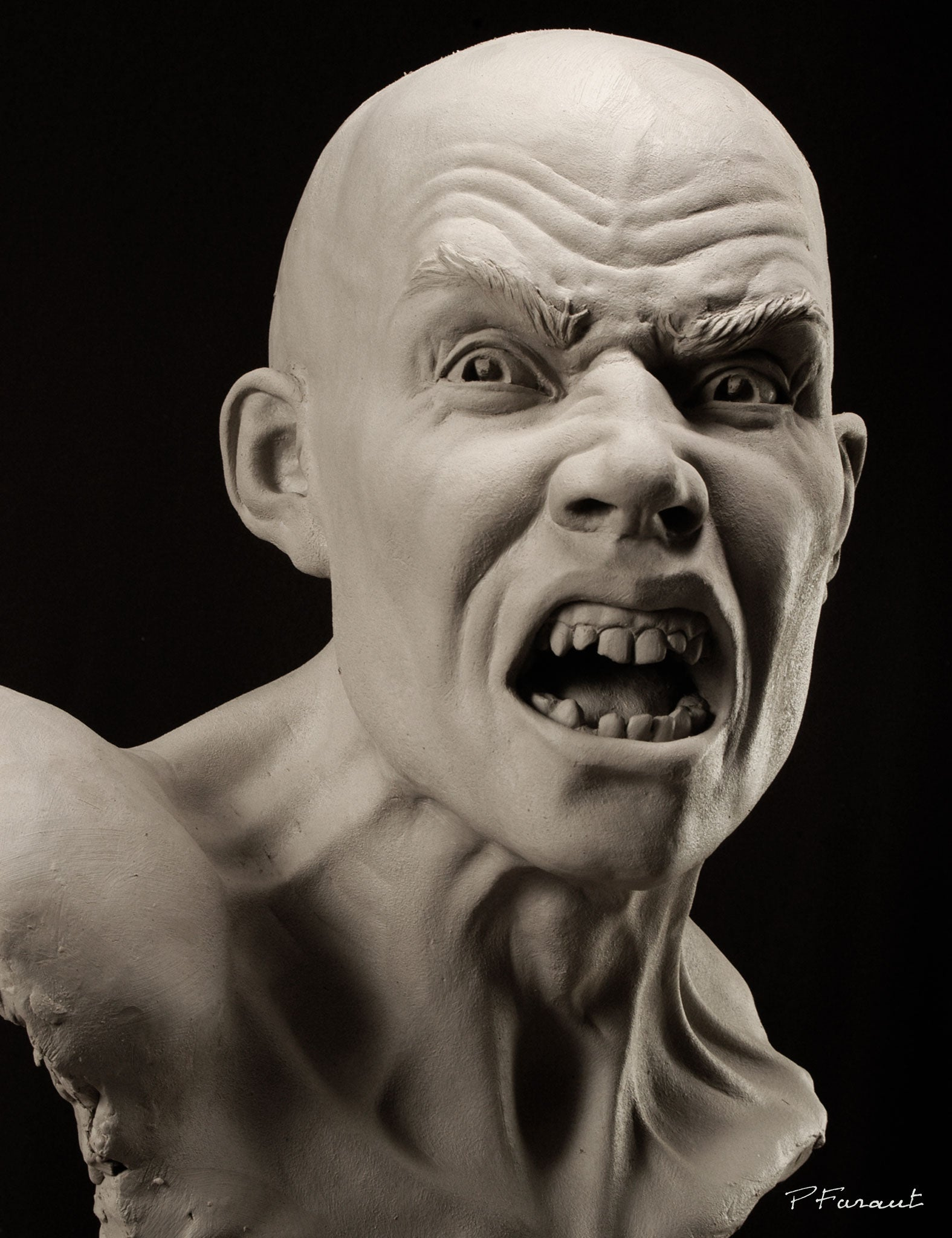 clay portrait screaming man with broken teeth Mutiny by Philippe Faraut