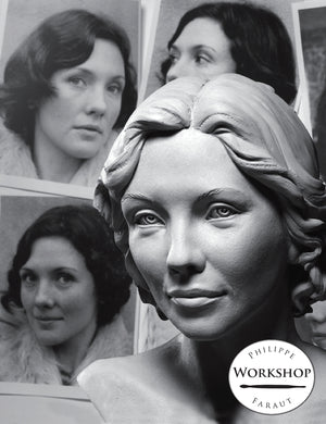female portrait bust in clay by Philippe Faraut for sculpting portraits from photos workshop