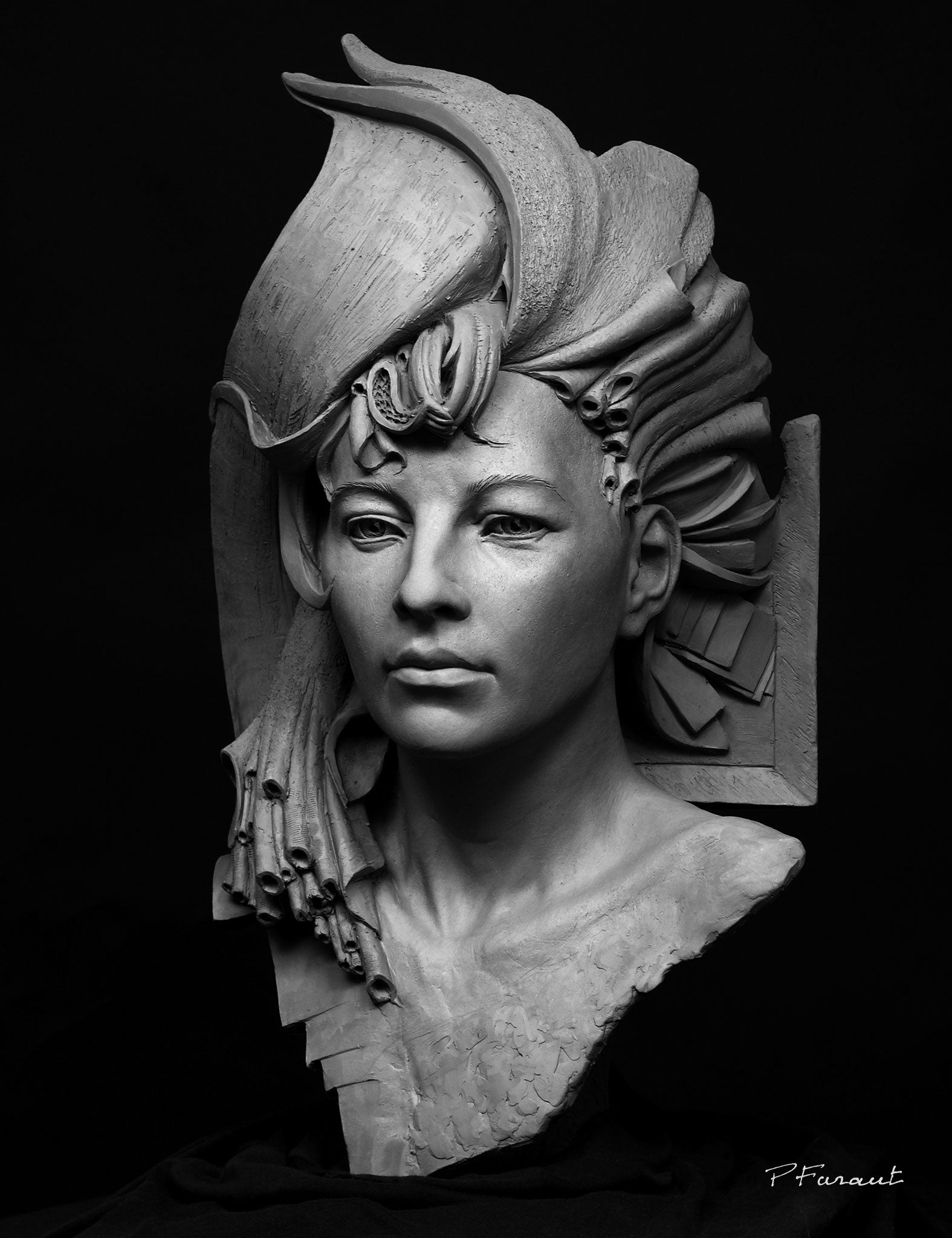 Stylized clay portrait of woman with abstract hair Queen Bee by Philippe Faraut