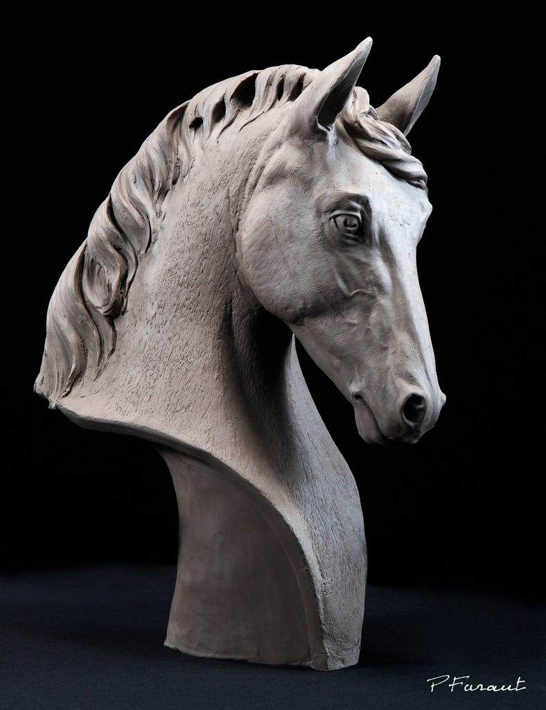Horse sculpture by Philippe Faraut, stallion sculpture, animal sculptures