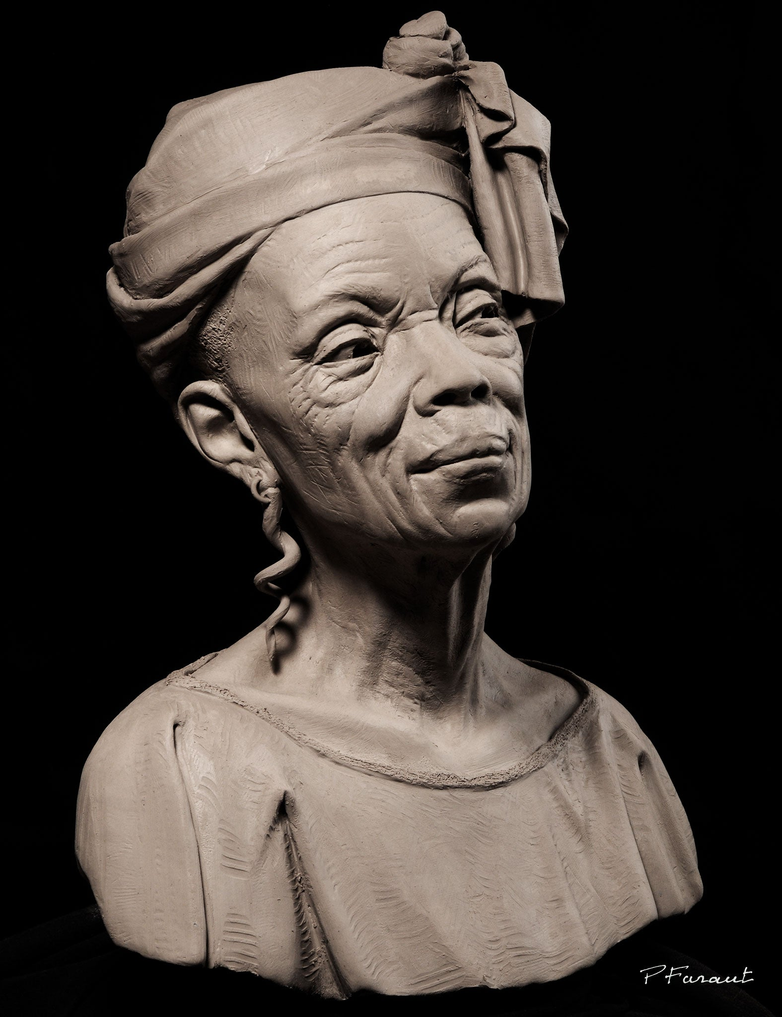 clay bust of elderly black woman dressed for church Sunday Morning by Philippe Faraut