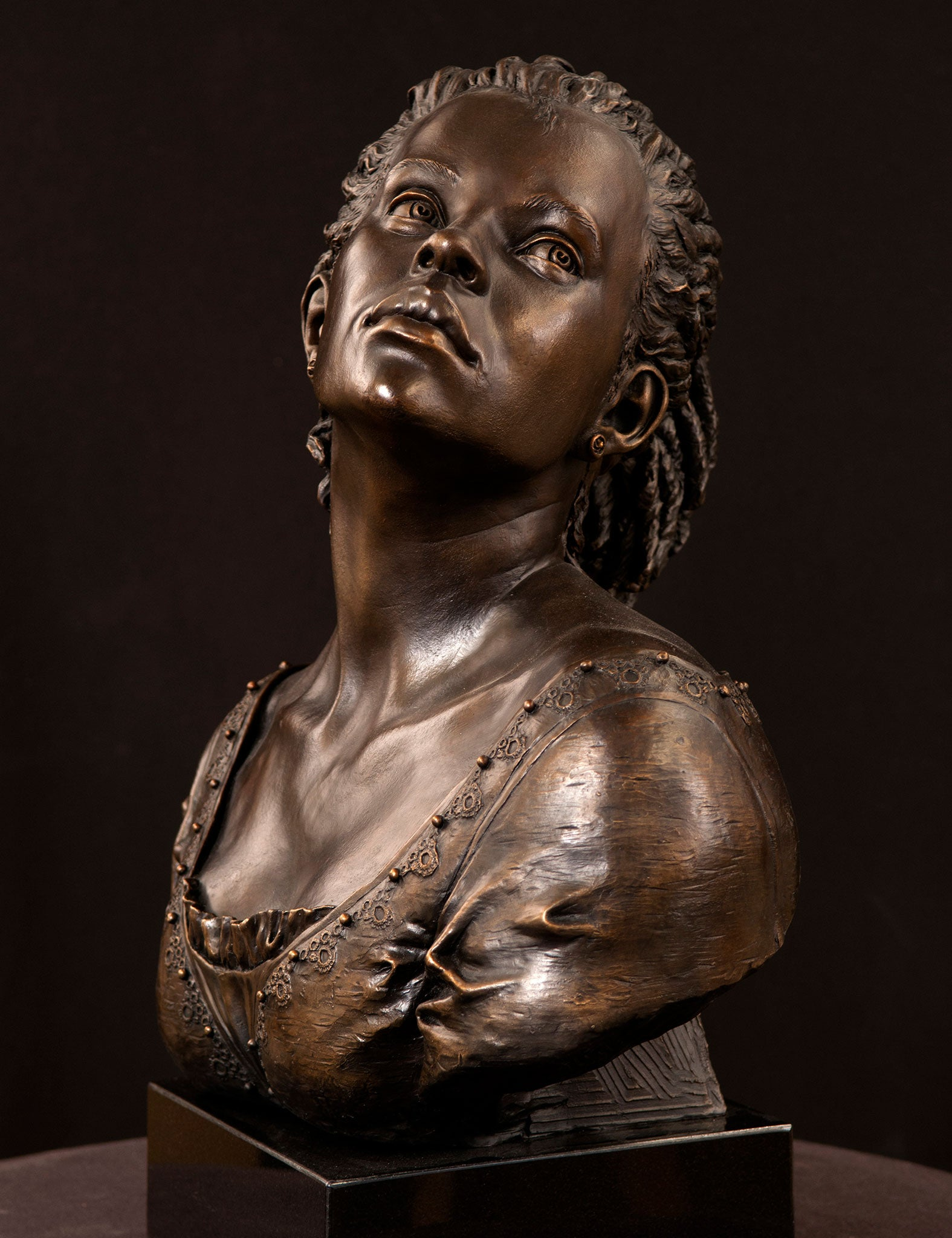 African-American bronze portrait sculpture Tangled Roots by Philippe Faraut