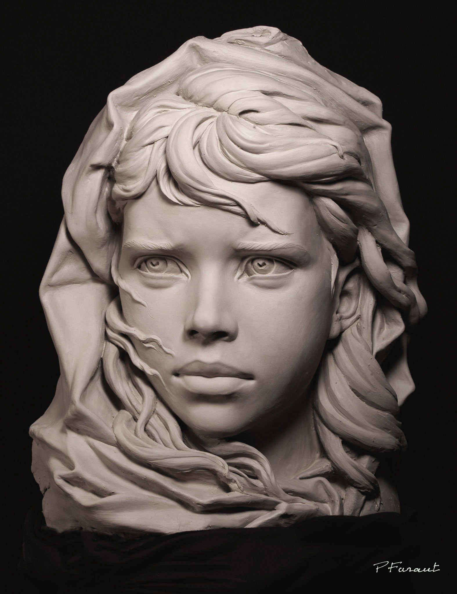 The Fisherman's Daughter girl with hair blowing in the wind clay portrait by Philippe Faraut