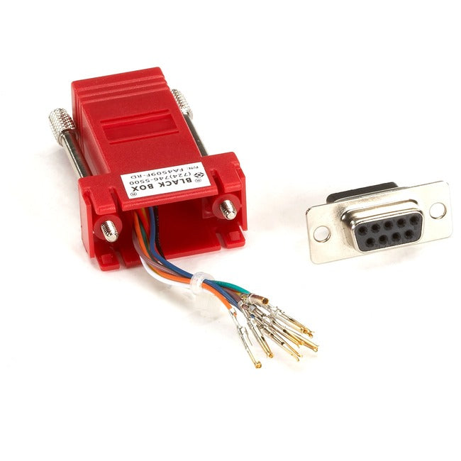 Black Box DB9 Colored Modular Adapter (Unassembled), Female to RJ-45, 8-Wire, Red