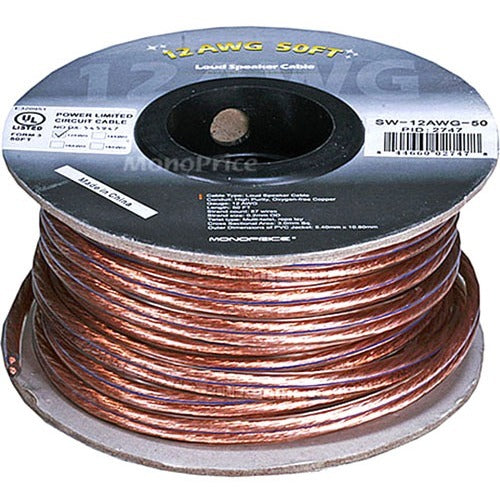 Monoprice Choice Series 12AWG Oxygen-Free Pure Bare Copper Speaker Wire, 50ft