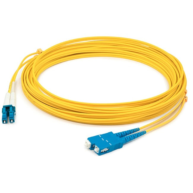 AddOn 0.5m LC (Male) to SC (Male) Yellow OS2 Duplex Fiber OFNR (Riser-Rated) Patch Cable