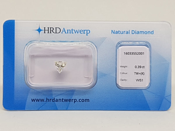 HRD Certified Diamond Trilliant Shape 0.39ct.