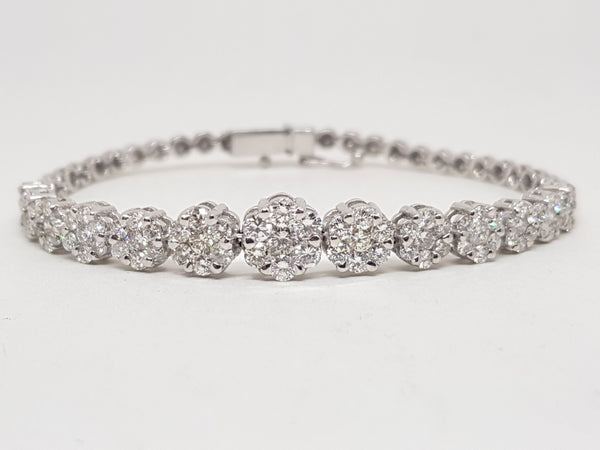 Women's Bracelet with Diamonds - 5.50 ct -18 K White Gold