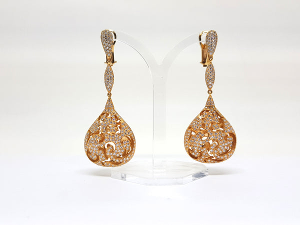 Red Carpet Diamond Dangle Earrings -Total: 4.50 ct - 18 K Gold