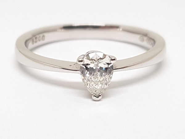 Solitaire Ring with Pear-Shaped Diamond -  0.35 ct - 18 K White Gold