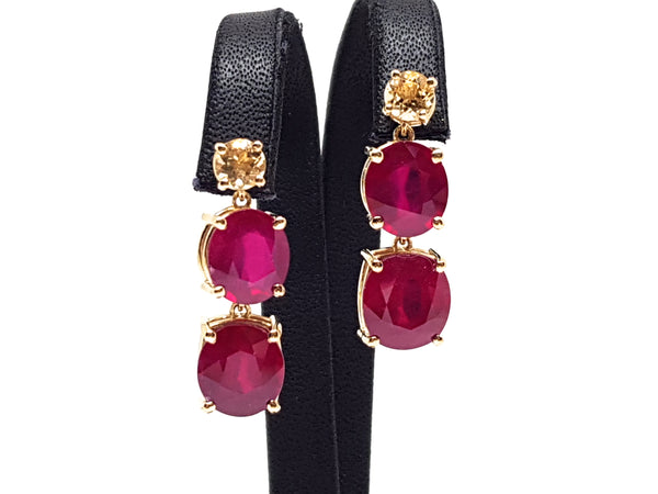 Ruby Topaz Earrings 9.70ct.