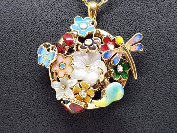 Necklace & Diamond Enamel Pendant